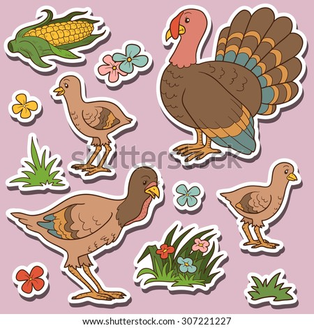 Farm animals set, vector stickers with turkey family and farm items - stock vector