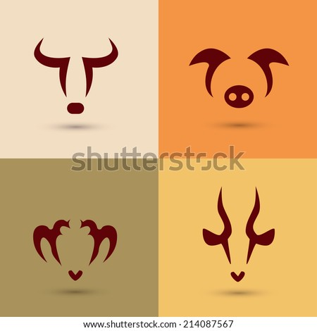 farm animals, stylized vector icons set - stock vector
