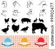 farm animals, vintage frame, labels food illustration - stock vector