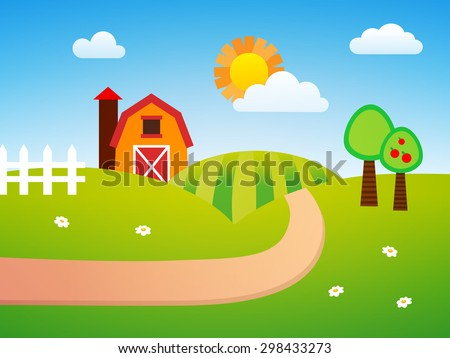 Farm Background - stock vector