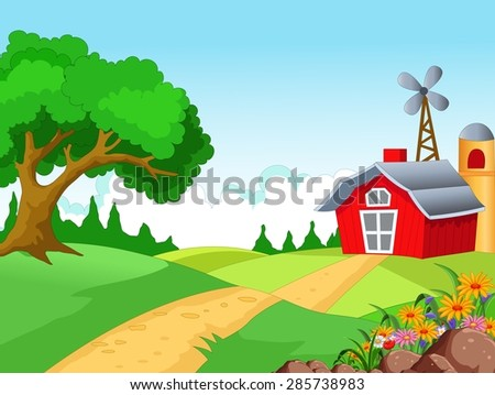 Farm background for you design - stock vector