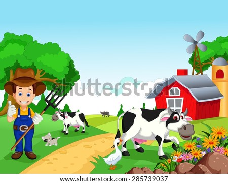 Farm background with farmer and animals - stock vector