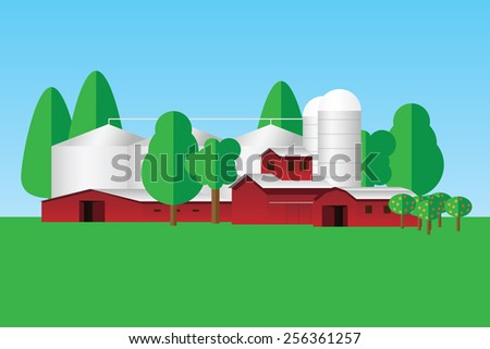 Farm buildings and trees - simple flat design  - stock vector