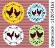 Farm chickens egg and meat labels illustration collection vector background - stock vector