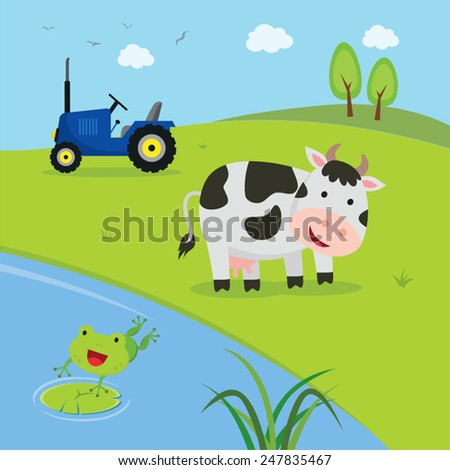 Farm. Cow with tractor with pond and frog jumping to the pond. - stock vector