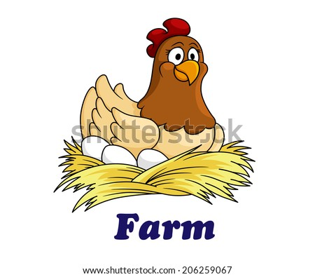 Farm emblem or logo with a cute hen sitting on her eggs on a bed of straw with the text - Farm - below, cartoon style - stock vector