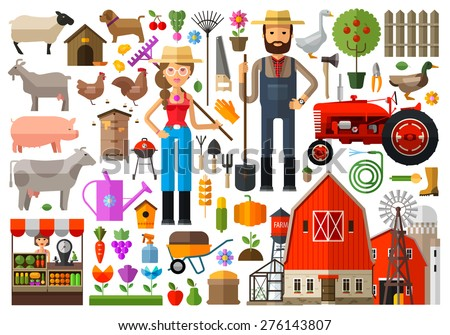 farm, farmhouse, farmyard vector logo design template. harvest, gardening, horticulture or animals, food icon. - stock vector
