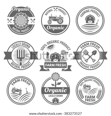 Farm fresh, farming, organic products set of vector monochrome round labels, badges, emblems and stickers isolated on white background - stock vector