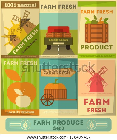 Farm Fresh Organic Food Posters Set. Retro Placard in Flat Design Style. Vector Illustration. - stock vector