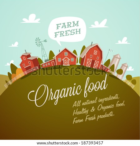 Farm fresh. Organic food. Retro style vector illustration.  - stock vector