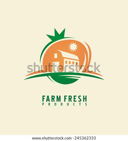 Farm fresh product label design layout. Organic food logo design concept. Creative symbol. Icon idea with fruit shape.  - stock vector