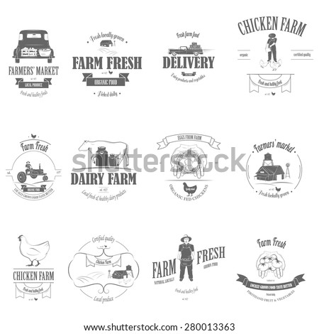 Farm Fresh Products Badge Set Vector Illustration. Contains Images of Barn, Farm Truck, Tractor, Cow, Chicken, Famer, Eggs, Human Hands, Milk Can, Farm Constructions, Tomatoes. - stock vector