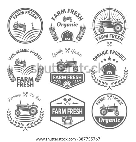 Farm fresh vector product labels, badges, emblems and stickers with tractor isolated on white background. Farming and agriculture, organic food, locally grown design elements for product packaging  - stock vector