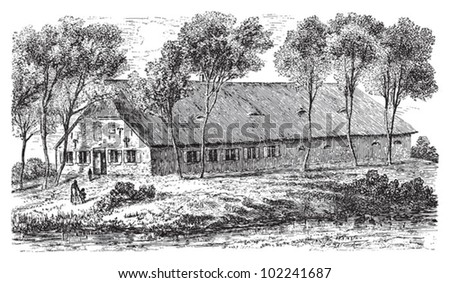 Farm house Dithmarschen (Northern Germany) / vintage illustration from Brockhaus Konversations-Lexikon 1908 - stock vector