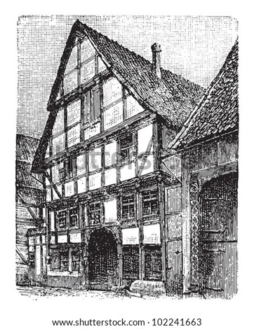 Farm house Hesse (Germany) / vintage illustration from Brockhaus Konversations-Lexikon 1908 - stock vector