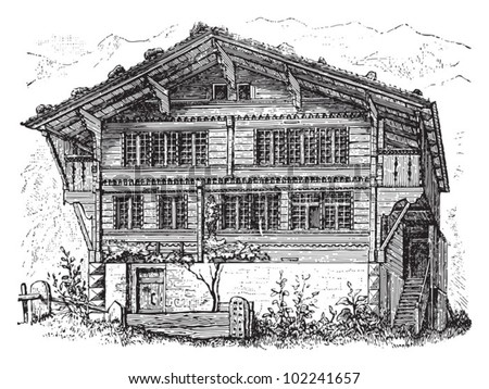 Farm house Switzerland / vintage illustration from Brockhaus Konversations-Lexikon 1908 - stock vector