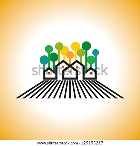 farm house vector - stock vector