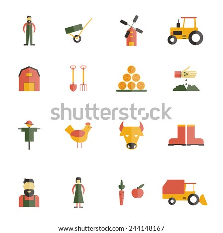 Farm icon flat set with barn cattle cow farming tools isolated vector illustration - stock vector