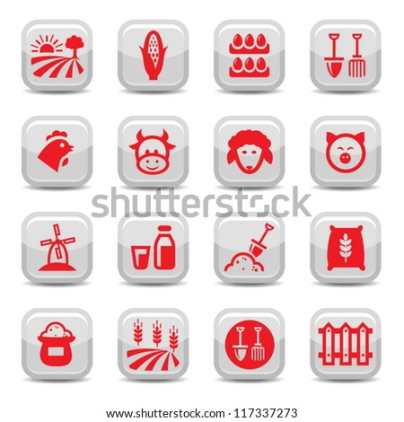 Farm Icon Set for web and mobile. All elements are grouped. - stock vector
