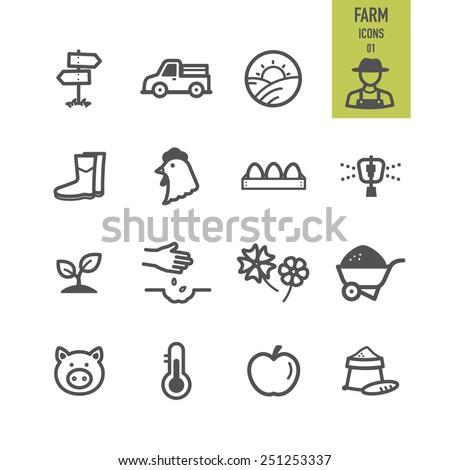 Farm icons. Vector illustration. - stock vector
