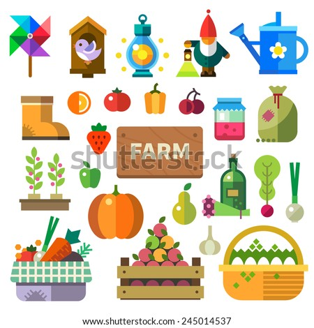 Farm in the village. Elements and sprites: basket with fruits and vegetables, eggs, jam, bottle with oil, tools, lamps, watering can, birdhouse. Vector flat illustrations - stock vector