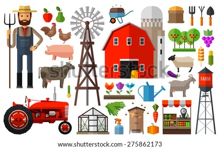 Farm in village vector logo design template. harvest, gardening, horticulture or animals, food icon. - stock vector