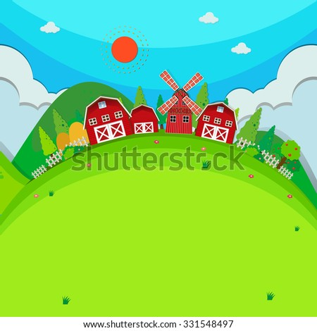 Farm land with barns and windmill illustration - stock vector