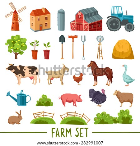 Farm multicolored icon set with house barn tractor tree haystack cattle poultry garden tools isolated vector illustration - stock vector