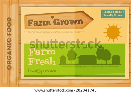 Farm Organic Food Poster on Wooden Background. Retro Placard with Farm Houses. Vector Illustration. - stock vector