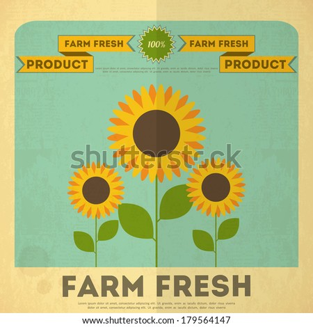 Farm Organic Food Poster. Retro Placard with Sunflowers. Vector Illustration. - stock vector