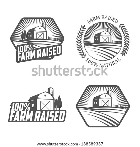 Farm raised labels and badges - stock vector