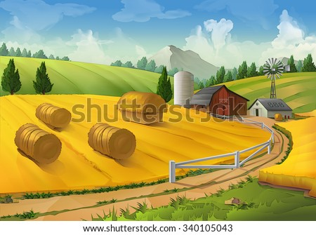 Farm, rural landscape vector background - stock vector