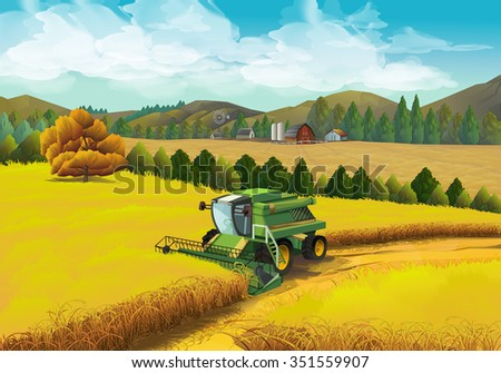 Farm rural landscape, vector background - stock vector