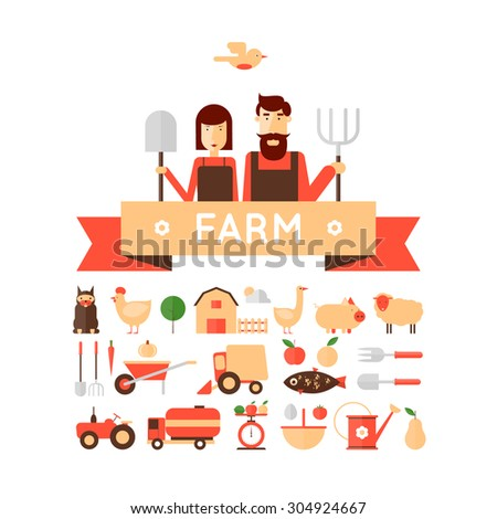Farm set of icons. Farmer's family. Harvesting, agriculture. Flat design vector illustration - stock vector