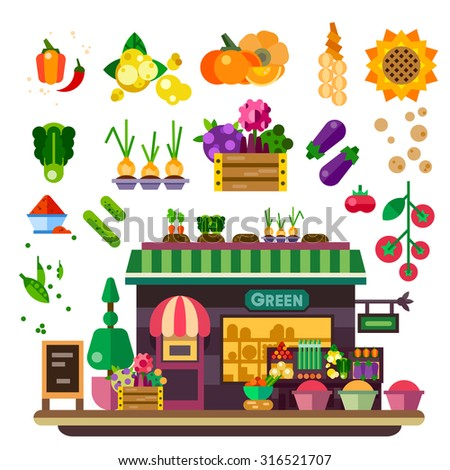 Farm shop: vegetables and fruits. Natural food, vegan lifestyle, count with food, autumn harvest. Vector flat illustration - stock vector