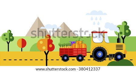 Farm tractor. Tractor on farmers field background with harvest. Farm tractor icon. Farmers landscape. Farm transport. Farm tractor on road. Farm tractor sign. Farm truck. - stock vector