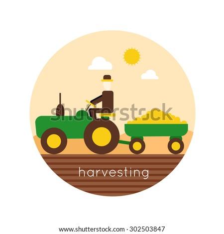 Farm tractor vector logo design. Harvesting, agriculture. Flat design vector illustration - stock vector