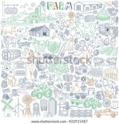 Farm Vector Drawings Collection. Various types - dairy, poultry, pig, meat, fruit, vegetables, market garden, plantation. Agricultural buildings, animals and domestic birds, cars and equipment.  - stock vector