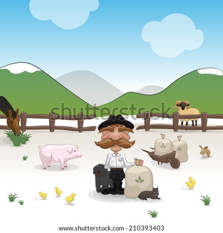 Farm with farmer and animals. - stock vector