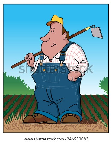 Farmer / A farmer stands in a field. - stock vector