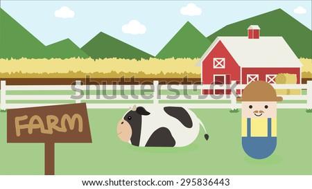 Farmer at Farmhouse. Flat style vector illustration. - stock vector