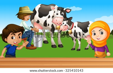 Farmer milking a cow illustration - stock vector