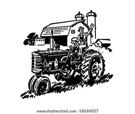 Farmer On Tractor Waving - Retro Clip Art - stock vector