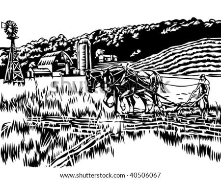Farmer plowing field illustration - stock vector