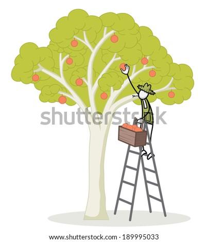 Farmer stick figure working  - stock vector