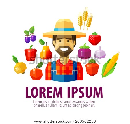 farmer vector logo design template. harvest or agriculture, farming icon - stock vector