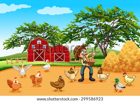 Farmer with chickens and eggs illustration - stock vector