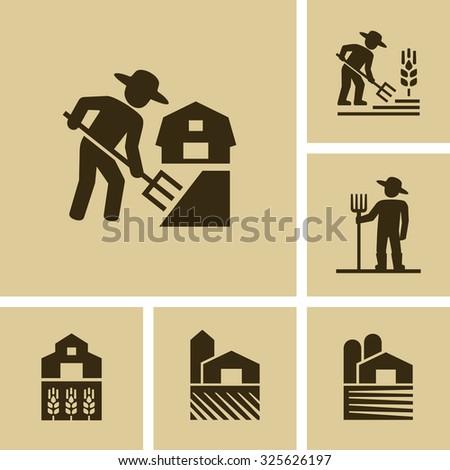 Farmer working in field Vector Farm icon  - stock vector