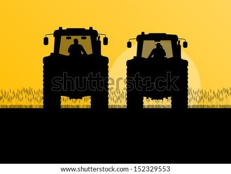 Farmers agriculture tractors in cultivated country grain field landscape background illustration vector - stock vector