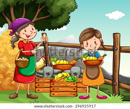 Farmers collecting vegetables and eggs - stock vector